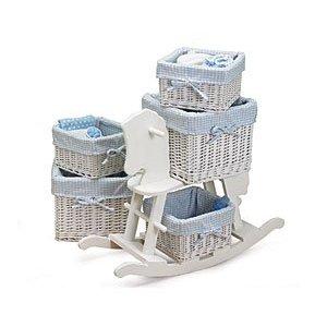 5 Piece Wicker Basket Baby Nursery Storage Set