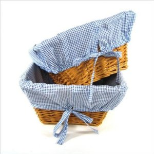 Blue Gingham Wicker Baskets
