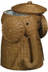 Elephant Wicker Basket For Nursery