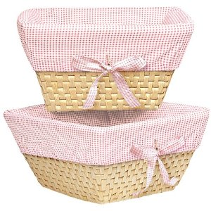 Pink Gingham Wicker Baskets