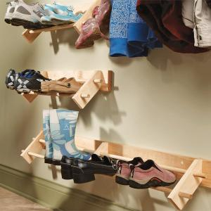 DIY wooden shoe shelf