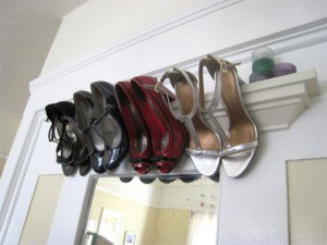 Hang heels from shelves