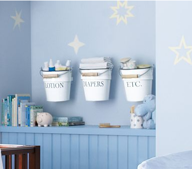 Pottery Barn Kids Enamel Nursery Wall Buckets