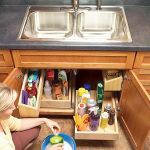 diy build your own kitchen sink storage trays - Sink Cabinet Kitchen
