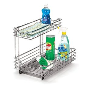 Two tier under sink sliding cabinet chrome organizer